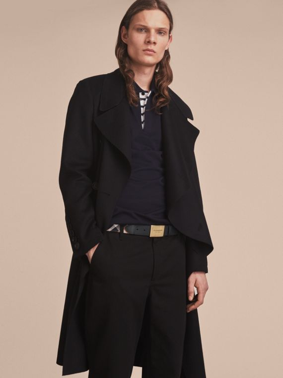 Plaque Buckle House Check and Leather Belt in Black - Men | Burberry Singapore - cell image 2