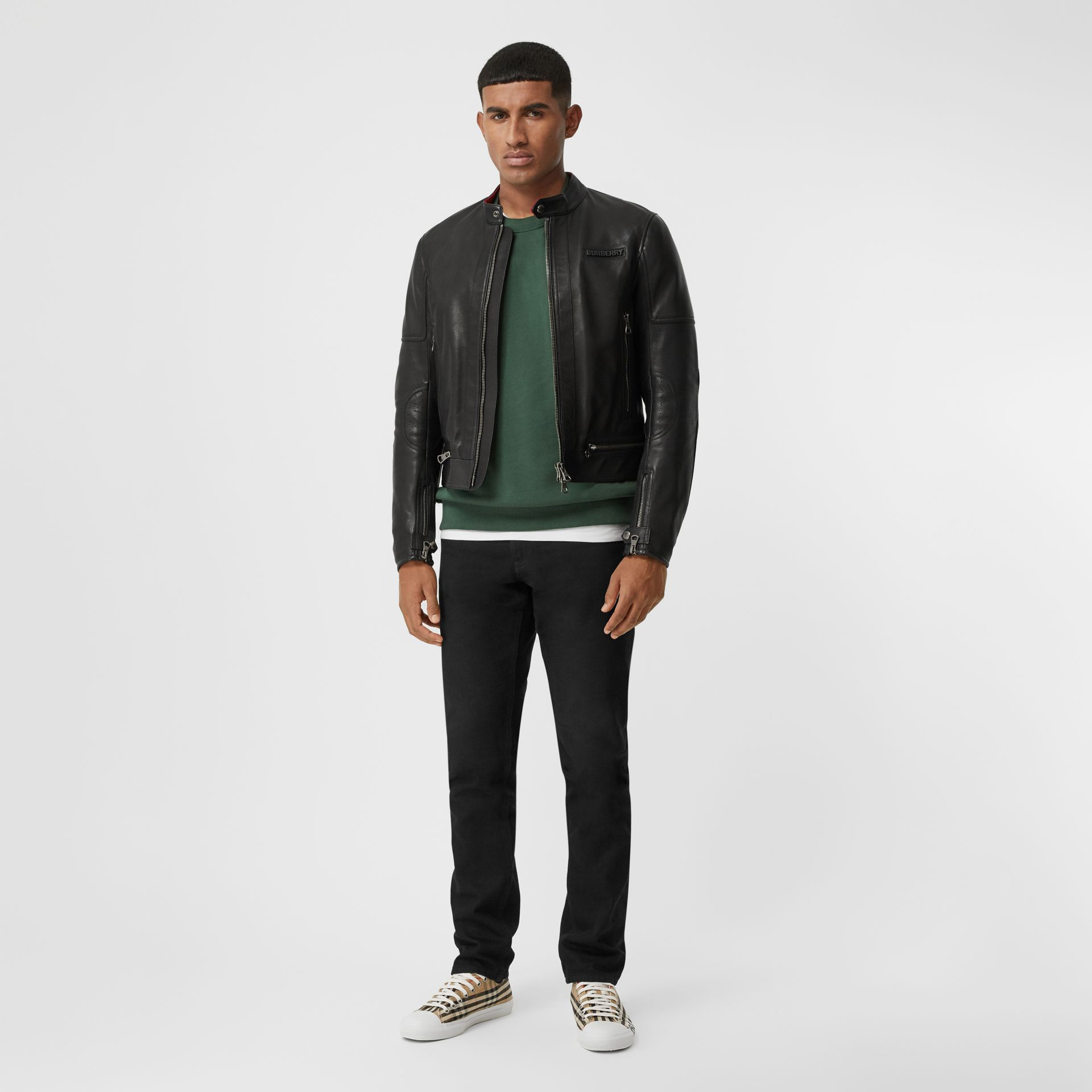 Logo Appliqué Leather Jacket in Black - Men | Burberry - gallery image 0