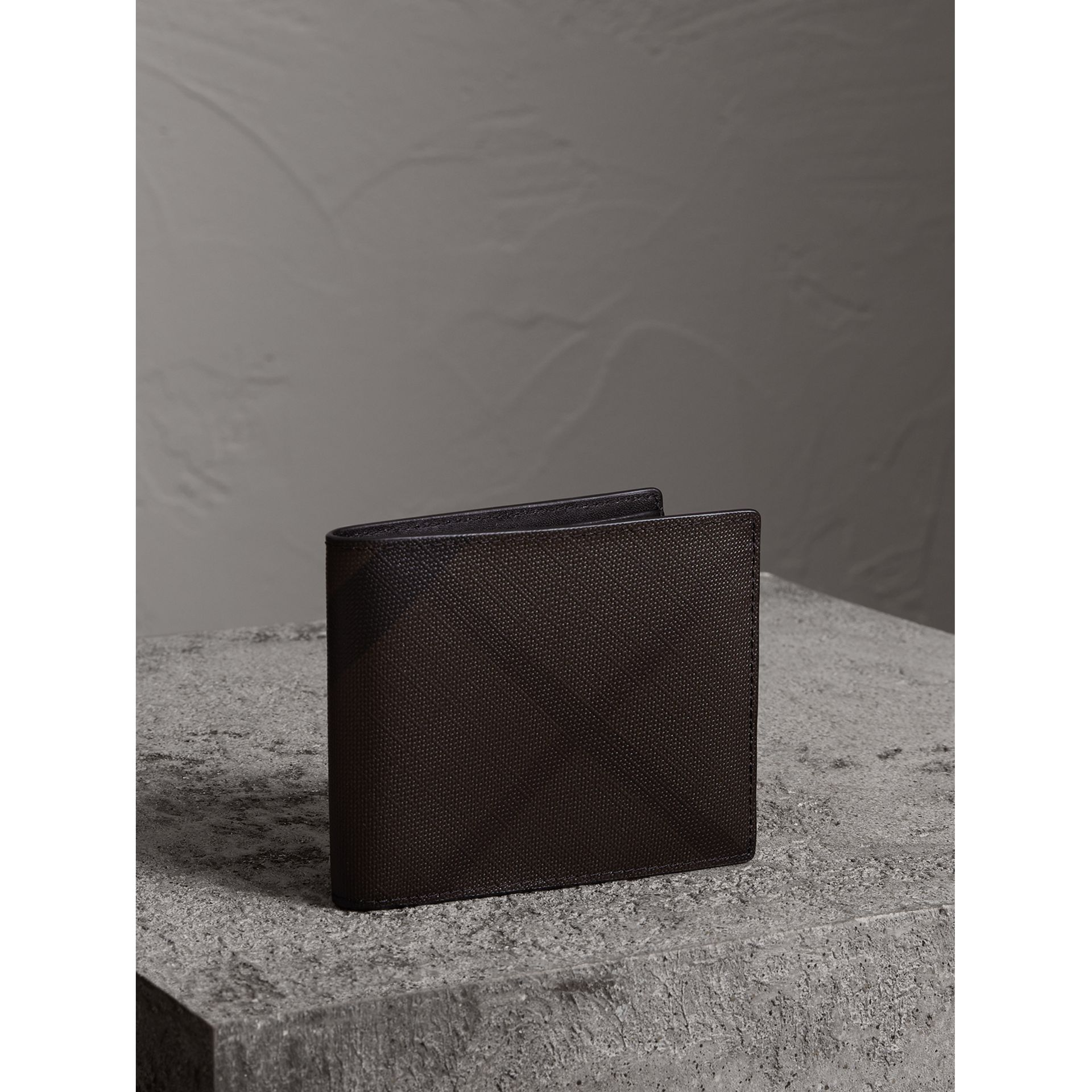 London Check International Bifold Wallet in Chocolate/black - Men | Burberry United States - gallery image 1
