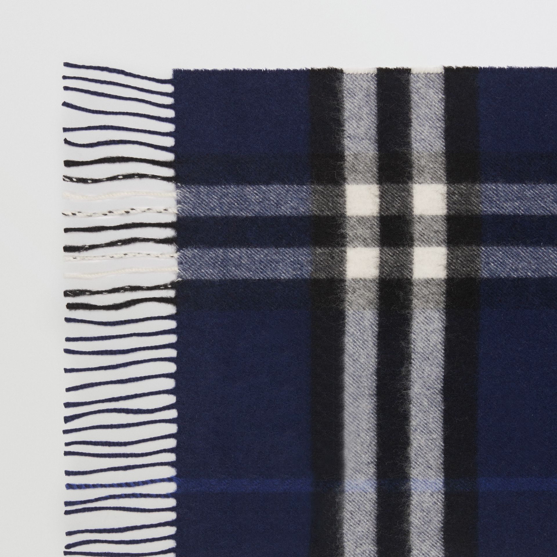 The Classic Check Cashmere Scarf in Indigo Blue | Burberry Singapore - gallery image 1