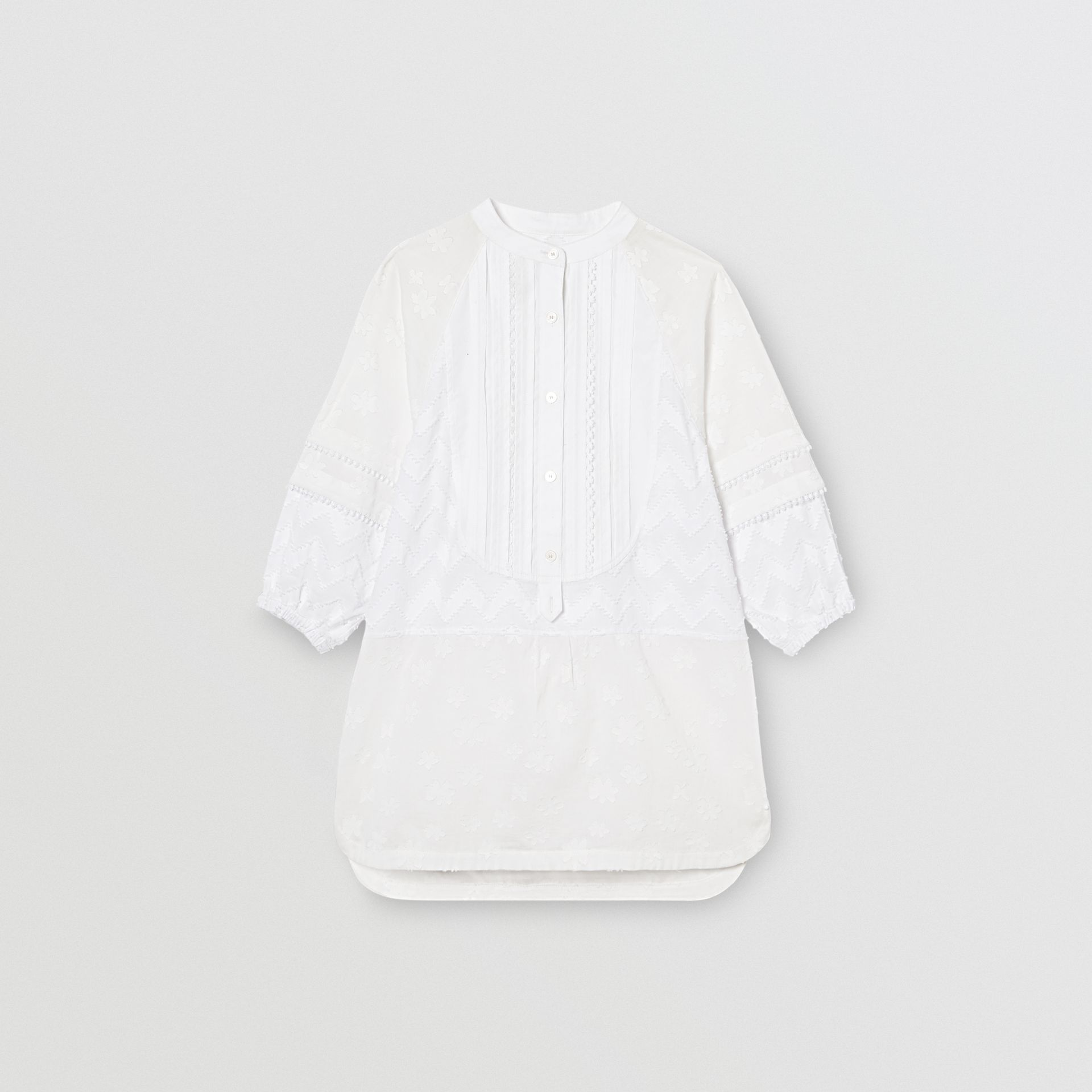Pleated Bib Fil Coupé Cotton Shirt Dress in White - Girl | Burberry - gallery image 0
