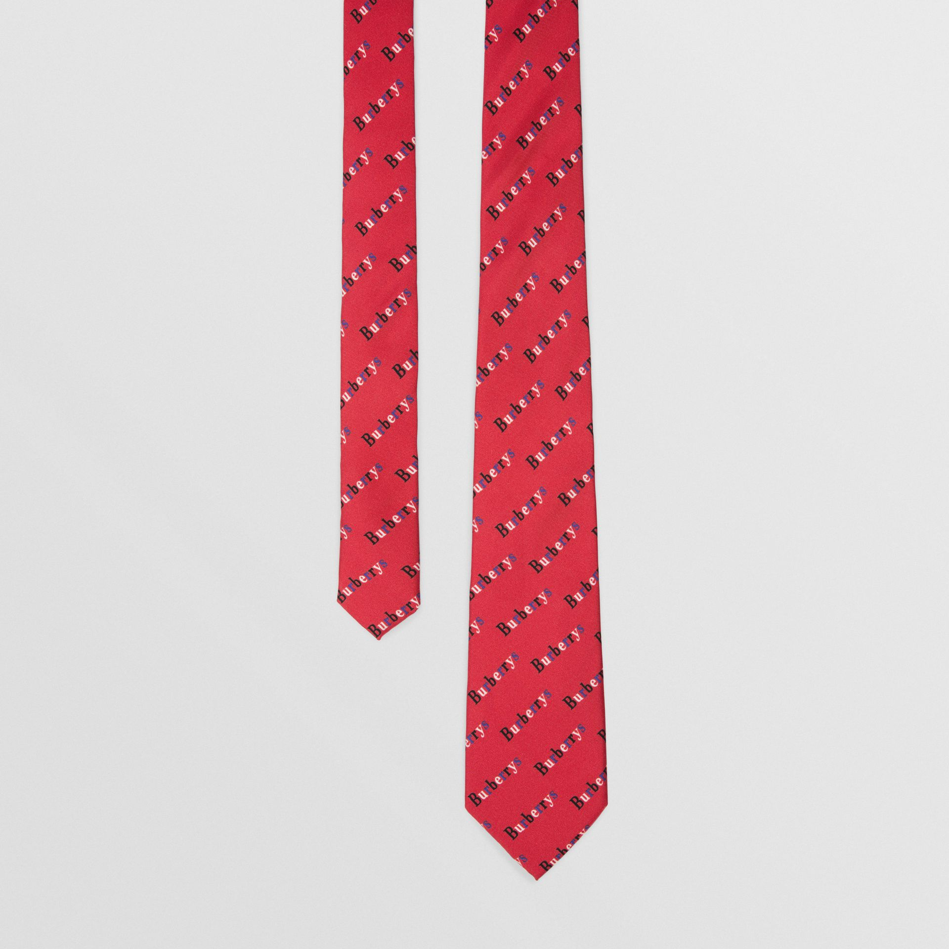 Slim Cut Archive Logo Print Silk Tie in Parade Red - Men | Burberry Singapore - gallery image 0