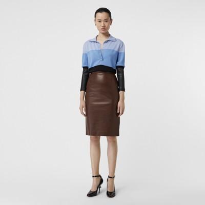 long-sleeve-lambskin-detail-wool-polo-shirt by burberry