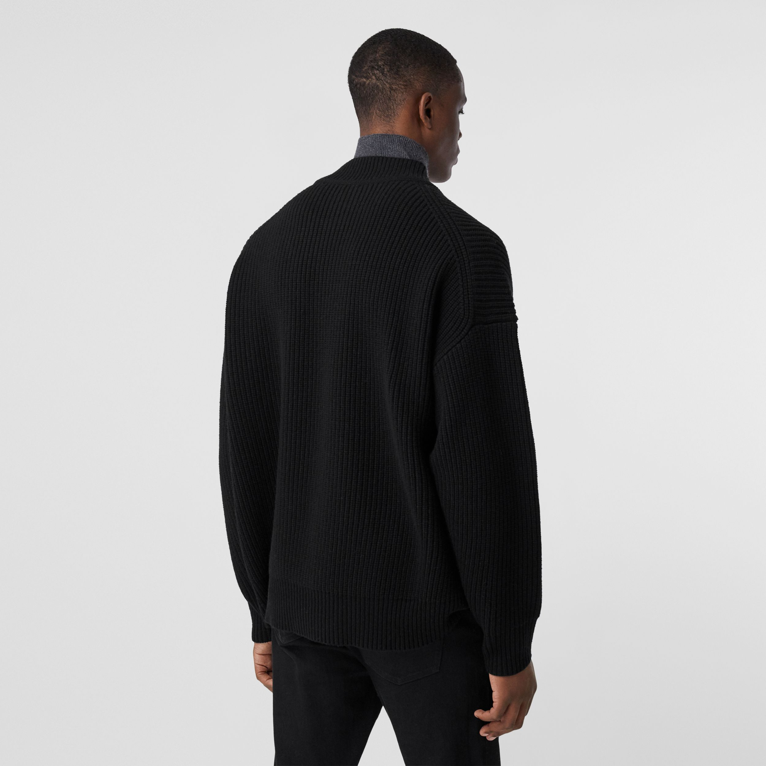 Funnel Neck Wool Cashmere Zip-front Sweater in Black - Men | Burberry - 3