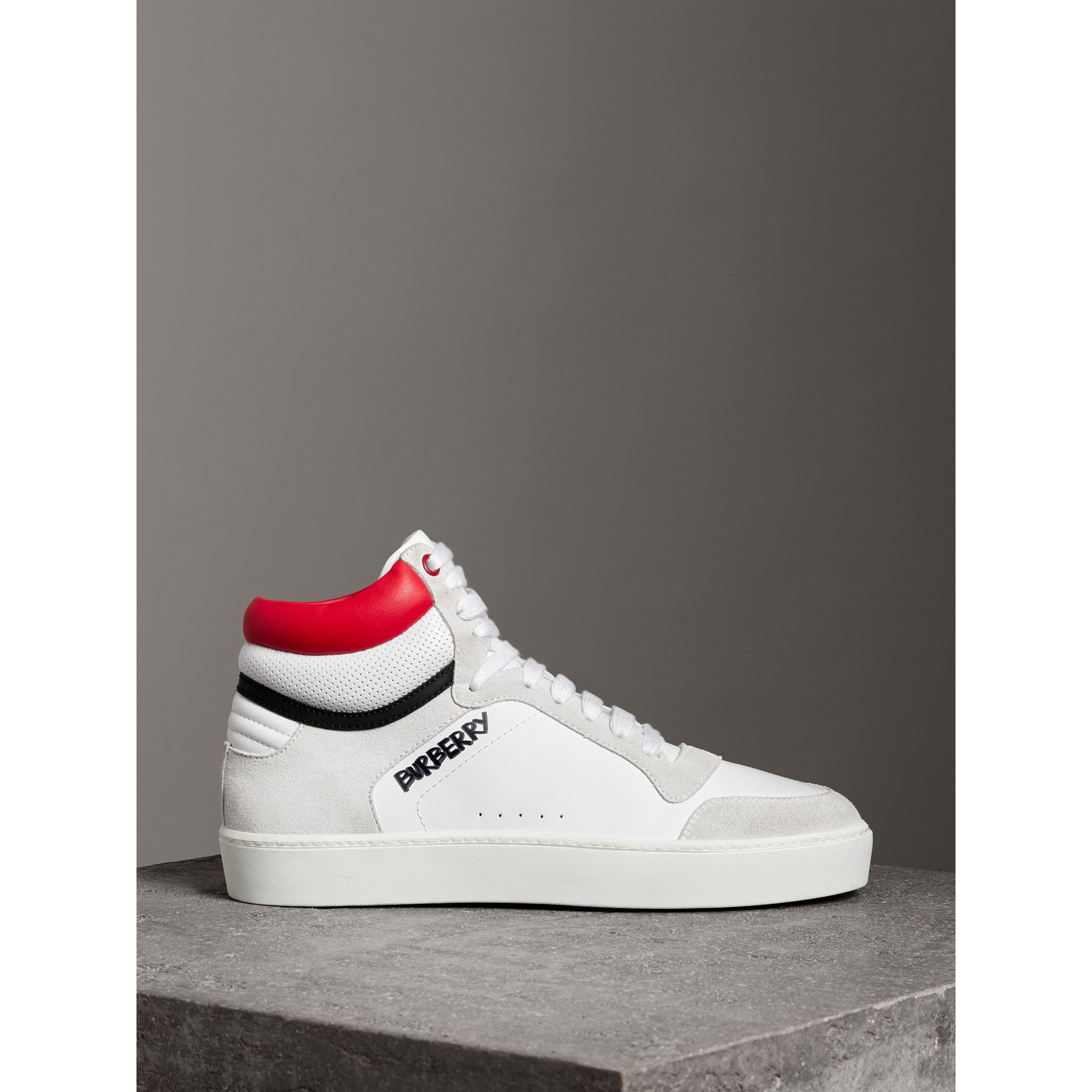 Leather and Suede High-top Sneakers in Optic White/bright Red - Women | Burberry Canada - gallery image 3