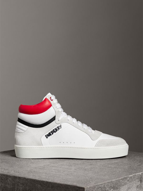 Leather and Suede High-top Sneakers in Optic White/bright Red - Women | Burberry Canada - cell image 3