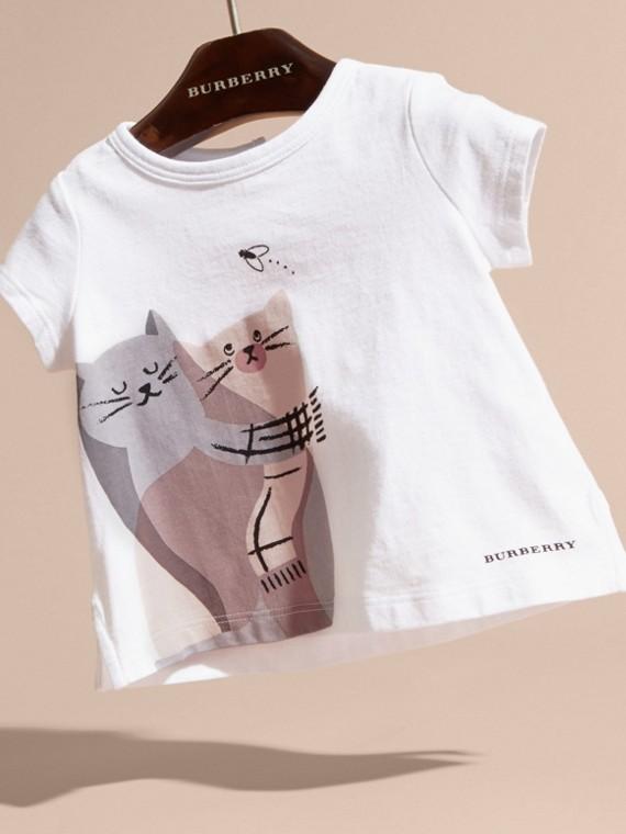 Rosa gesso T-shirt in cotone con gatto - cell image 2