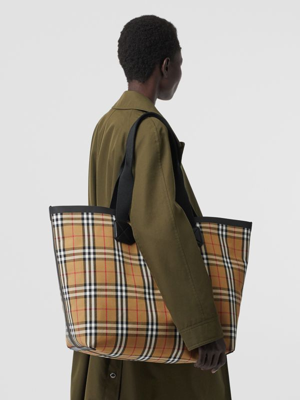 Large Vintage Check Austen Tote in Archive Beige - Women | Burberry Canada - cell image 2