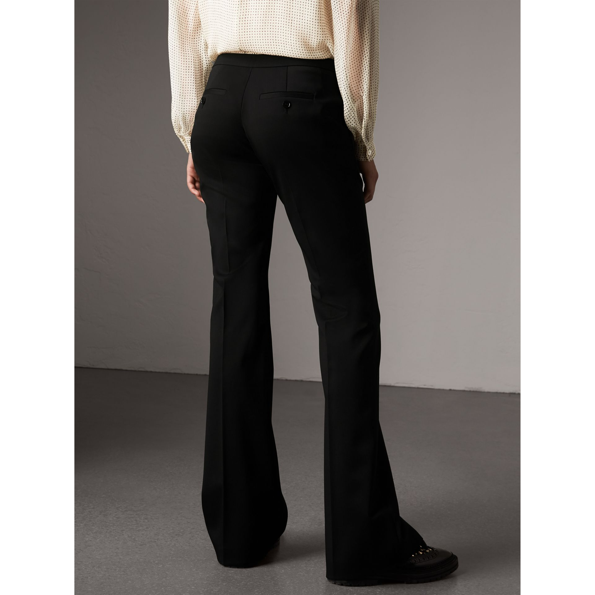 Wide-leg Wool Tailored Trousers in Black - Women | Burberry - gallery image 3
