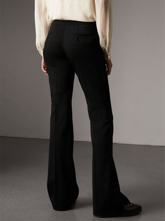 Wide-leg Wool Tailored Trousers in Black - Women | Burberry United Kingdom - cell image 2