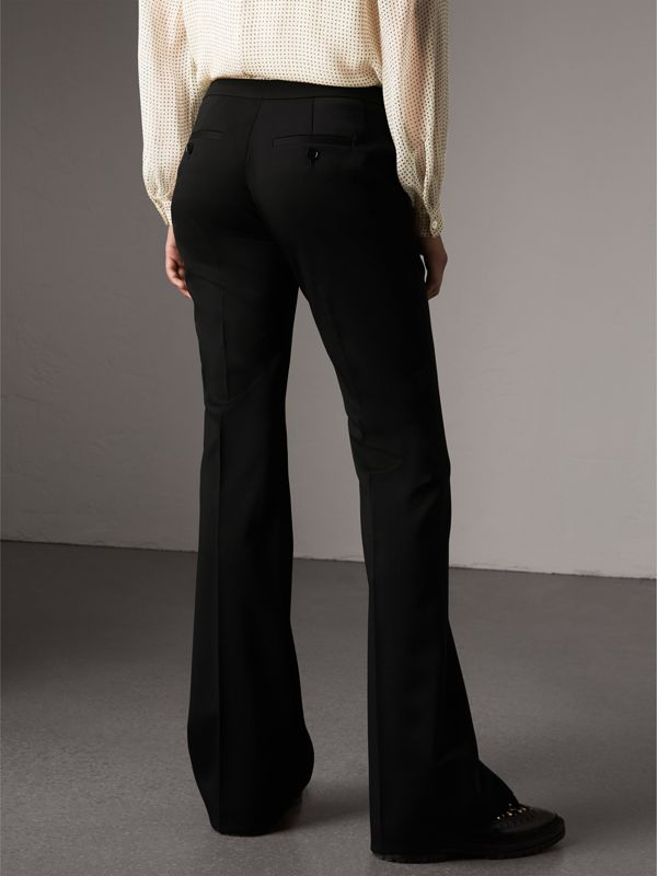 Wide-leg Wool Tailored Trousers in Black - Women | Burberry - cell image 2