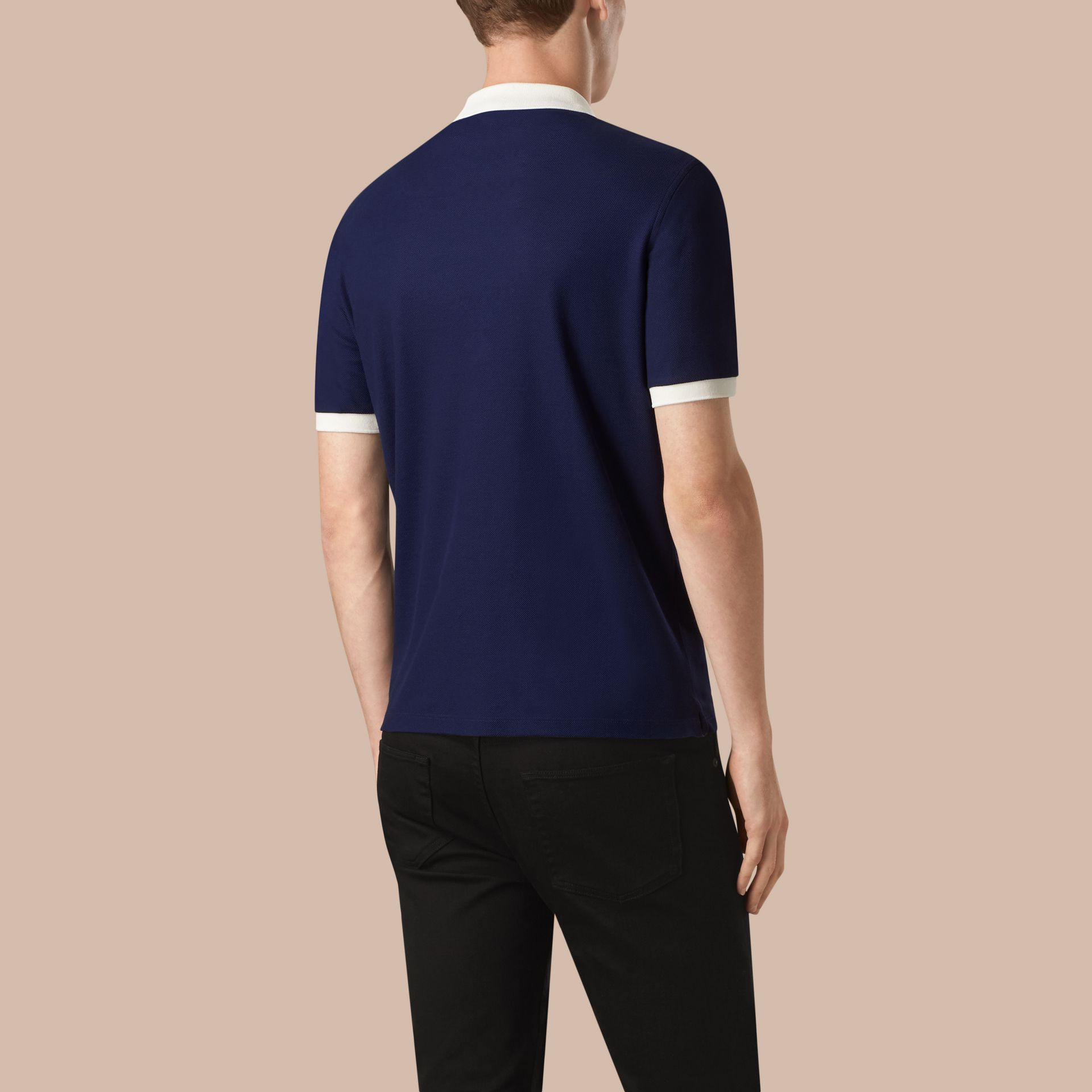 Marineblau/weiss Poloshirt aus mercerisiertem Baumwollpiqué Marineblau/weiss - Galerie-Bild 2