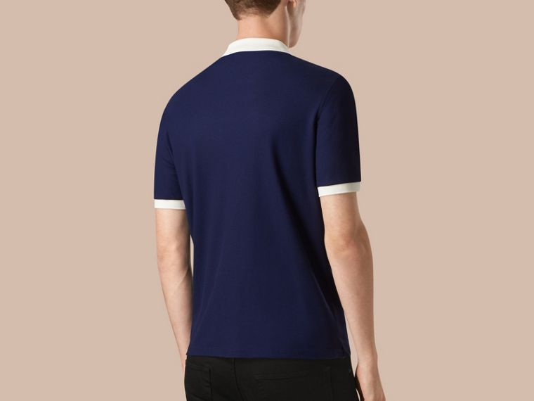 Navy blue/white Mercerised Cotton Piqué Polo Shirt Navy Blue/white - cell image 1
