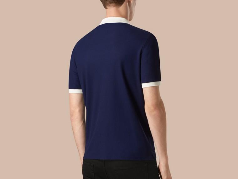 Marineblau/weiss Poloshirt aus mercerisiertem Baumwollpiqué Marineblau/weiss - cell image 1