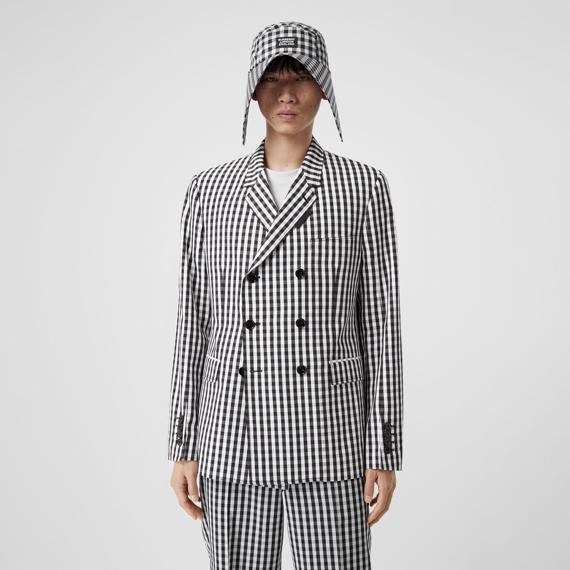 Classic Fit Gingham Technical Wool Blazer in Black | Burberry - gallery image 0