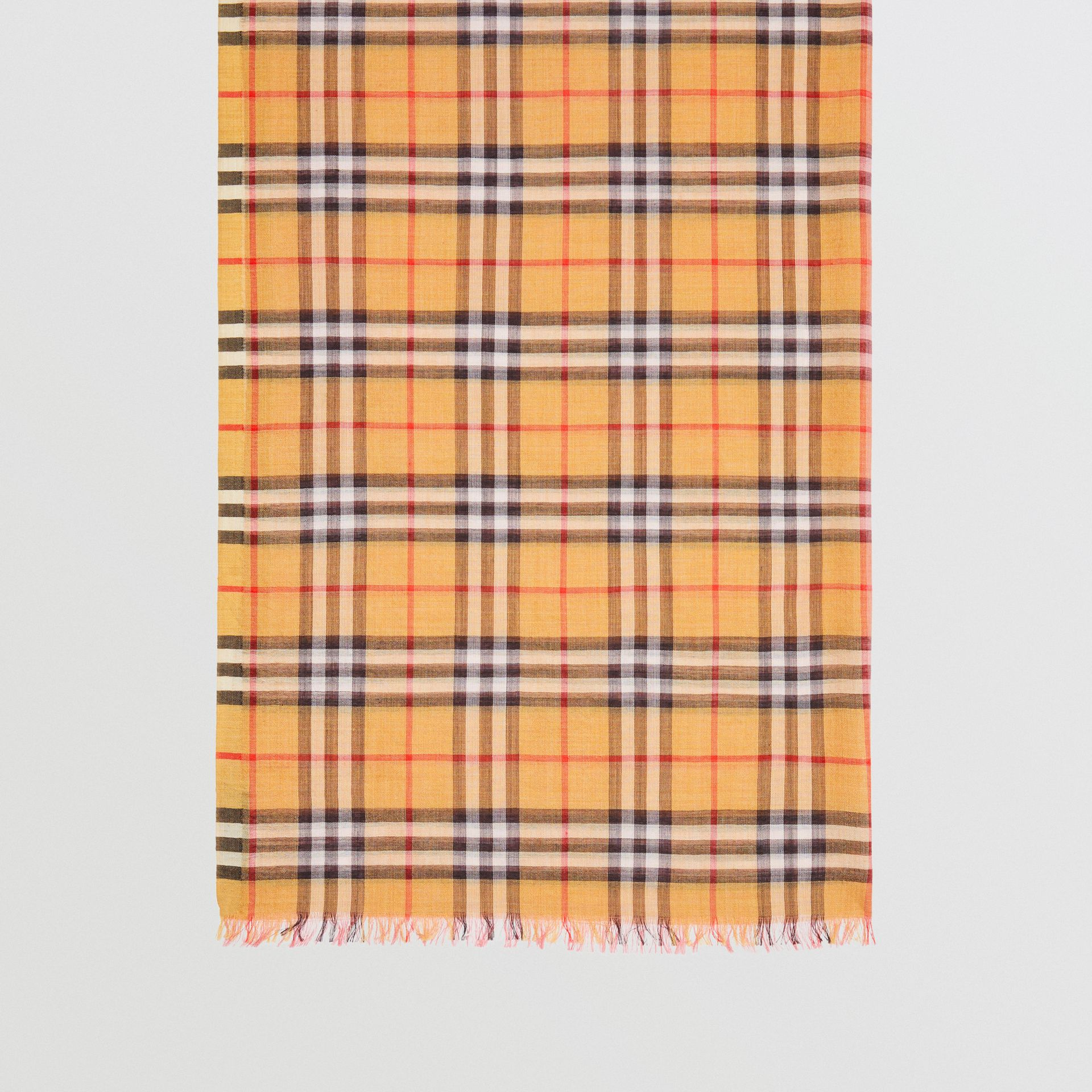 Vintage Check and Colour Block Wool Silk Scarf in Rose Pink | Burberry Australia - gallery image 3
