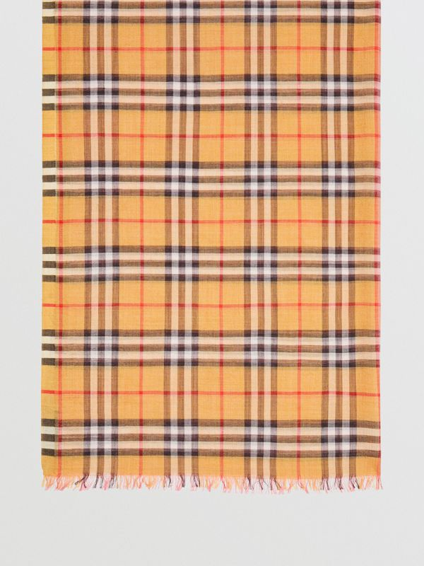 Vintage Check and Colour Block Wool Silk Scarf in Rose Pink | Burberry Australia - cell image 3