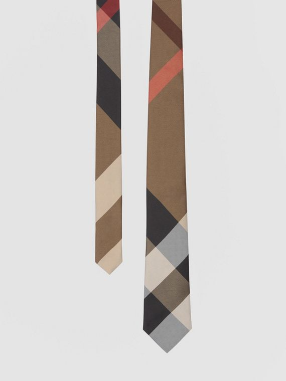 Classic Cut Check Silk Jacquard Tie in Bright Toffee