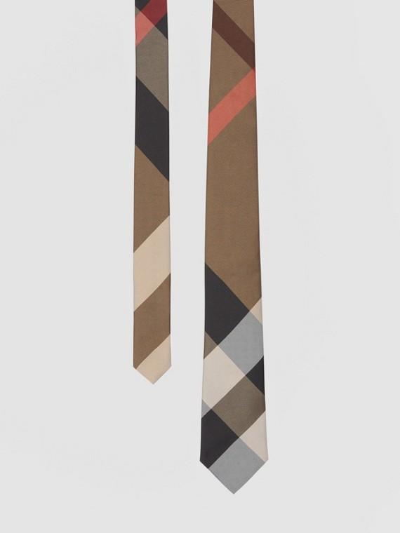 Шелковый галстук с жаккардовым узором в клетку (Ярко-бежевый)