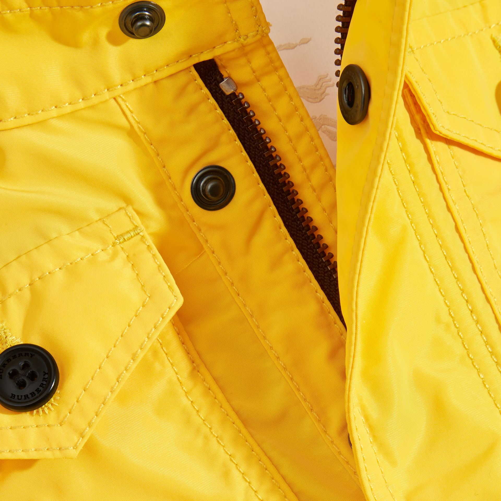 Bright yellow Hooded Technical Jacket Bright Yellow - gallery image 2
