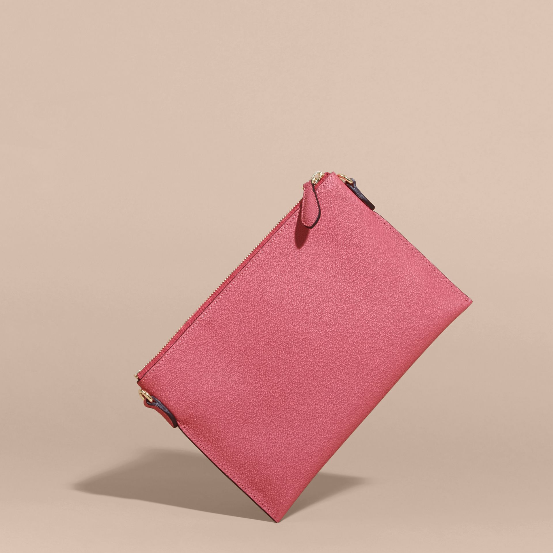 Leather Clutch Bag with Check Lining Pink Azalea - gallery image 5