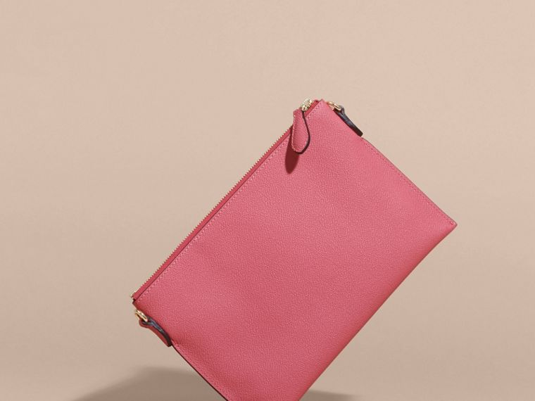 Leather Clutch Bag with Check Lining Pink Azalea - cell image 4