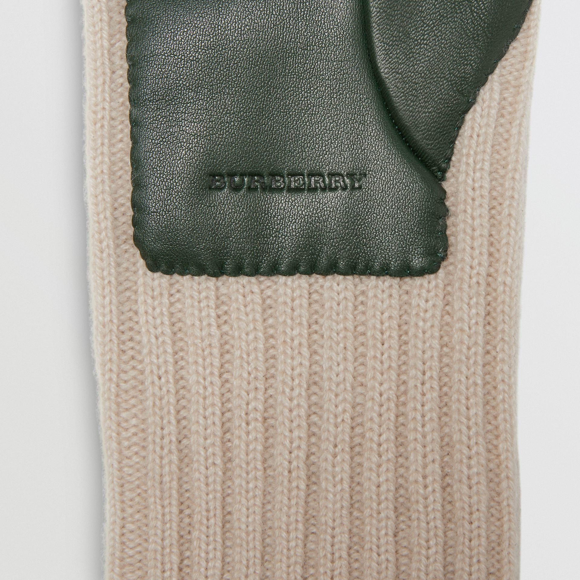 Cashmere and Lambskin Gloves in Dark Forest Green/ White - Women | Burberry - gallery image 1