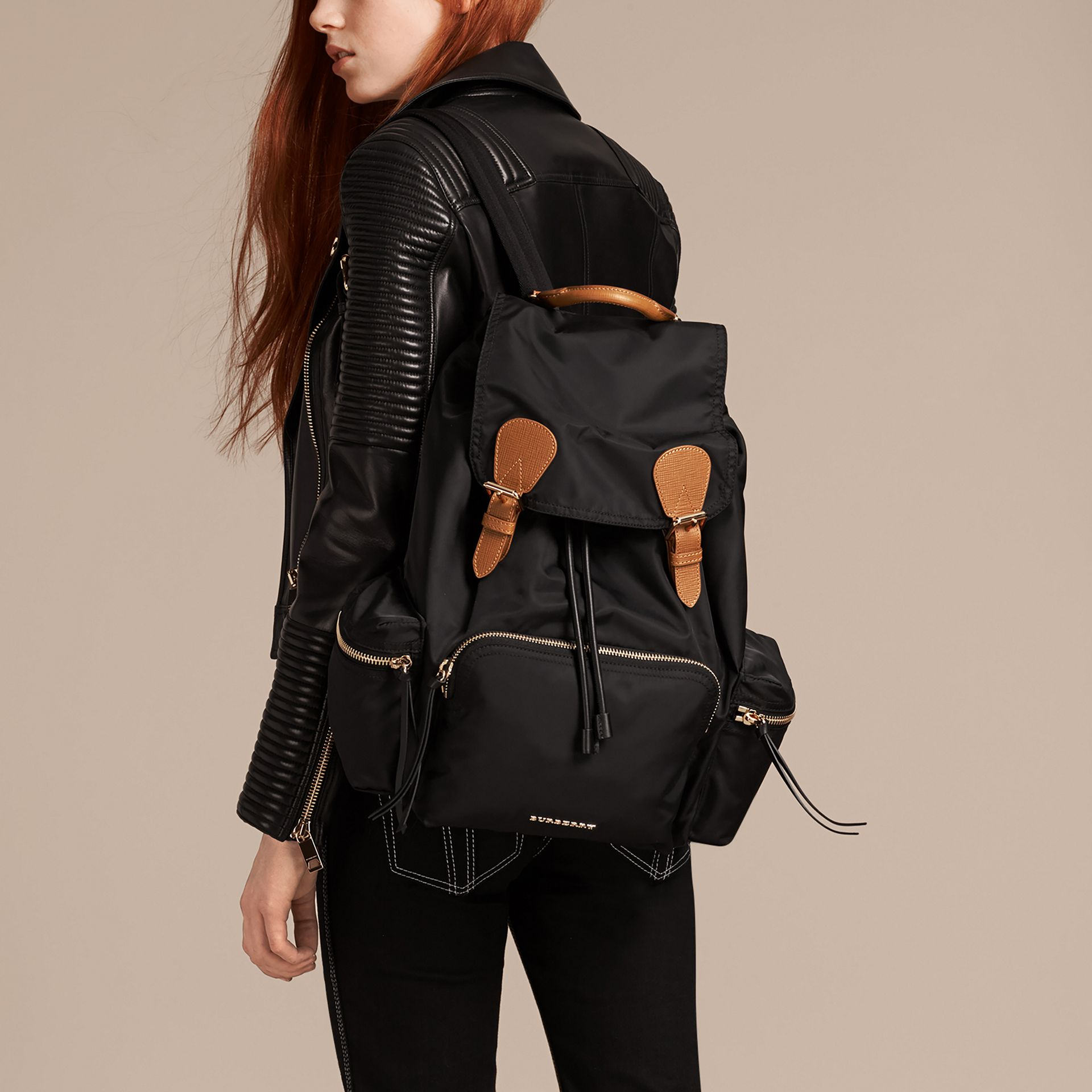 The Large Rucksack in Technical Nylon and Leather in Black - gallery image 3