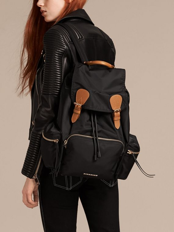 The Large Rucksack in Technical Nylon and Leather in Black - cell image 2