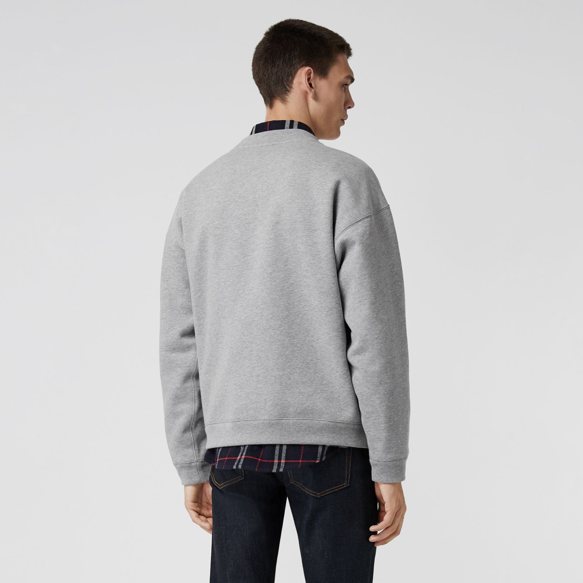 Embroidered Logo Jersey Sweatshirt in Pale Grey Melange - Men | Burberry Singapore - gallery image 2