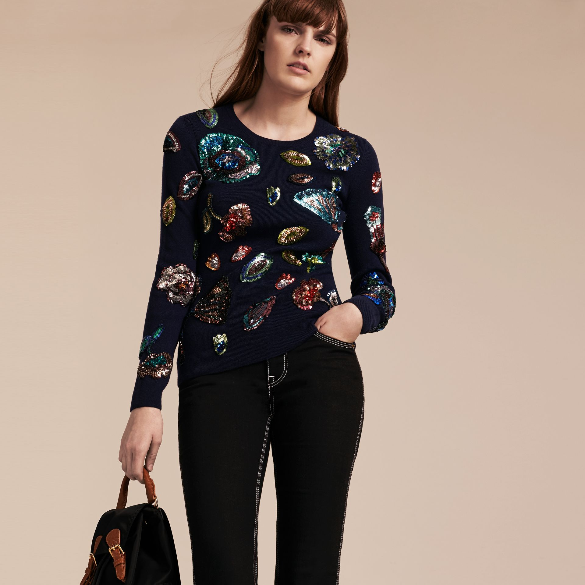 Navy Cashmere Sweater with Hand-embroidered Sequin Flowers - gallery image 1