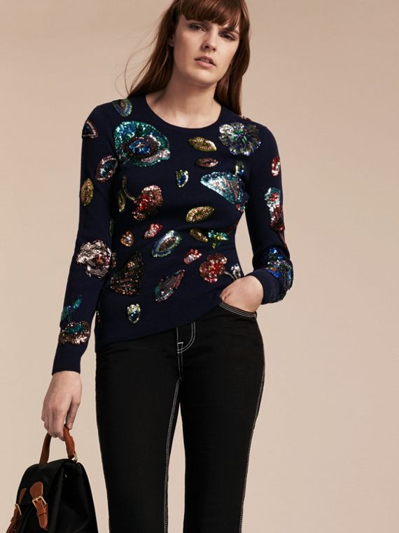 Cashmere Sweater with Hand-embroidered Sequin Flowers