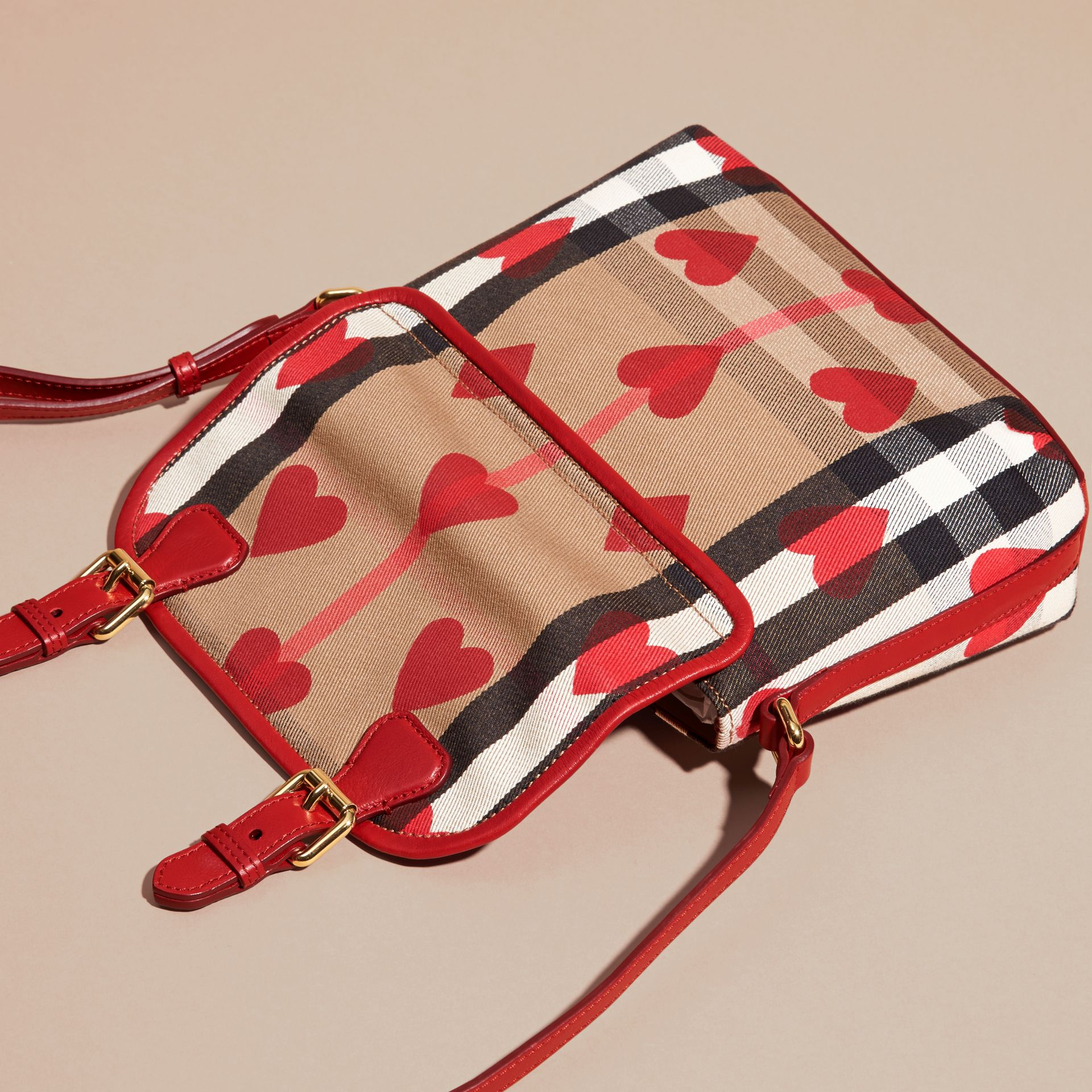 Parade red Hearts and House Check Satchel - gallery image 4