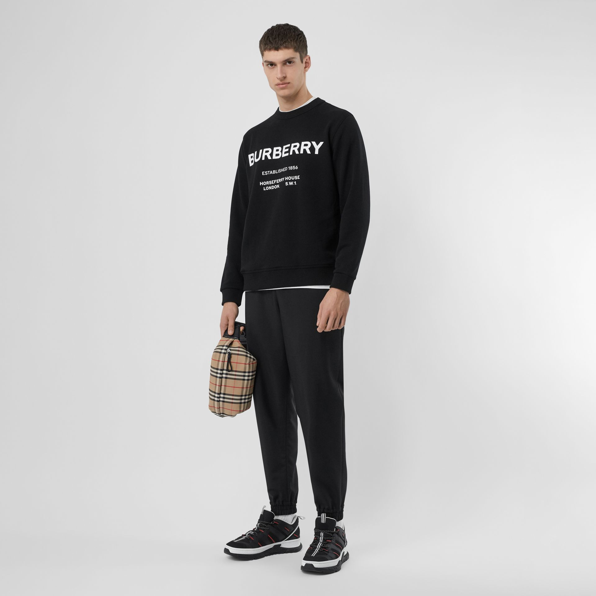Horseferry Print Cotton Sweatshirt in Black - Men | Burberry - gallery image 0