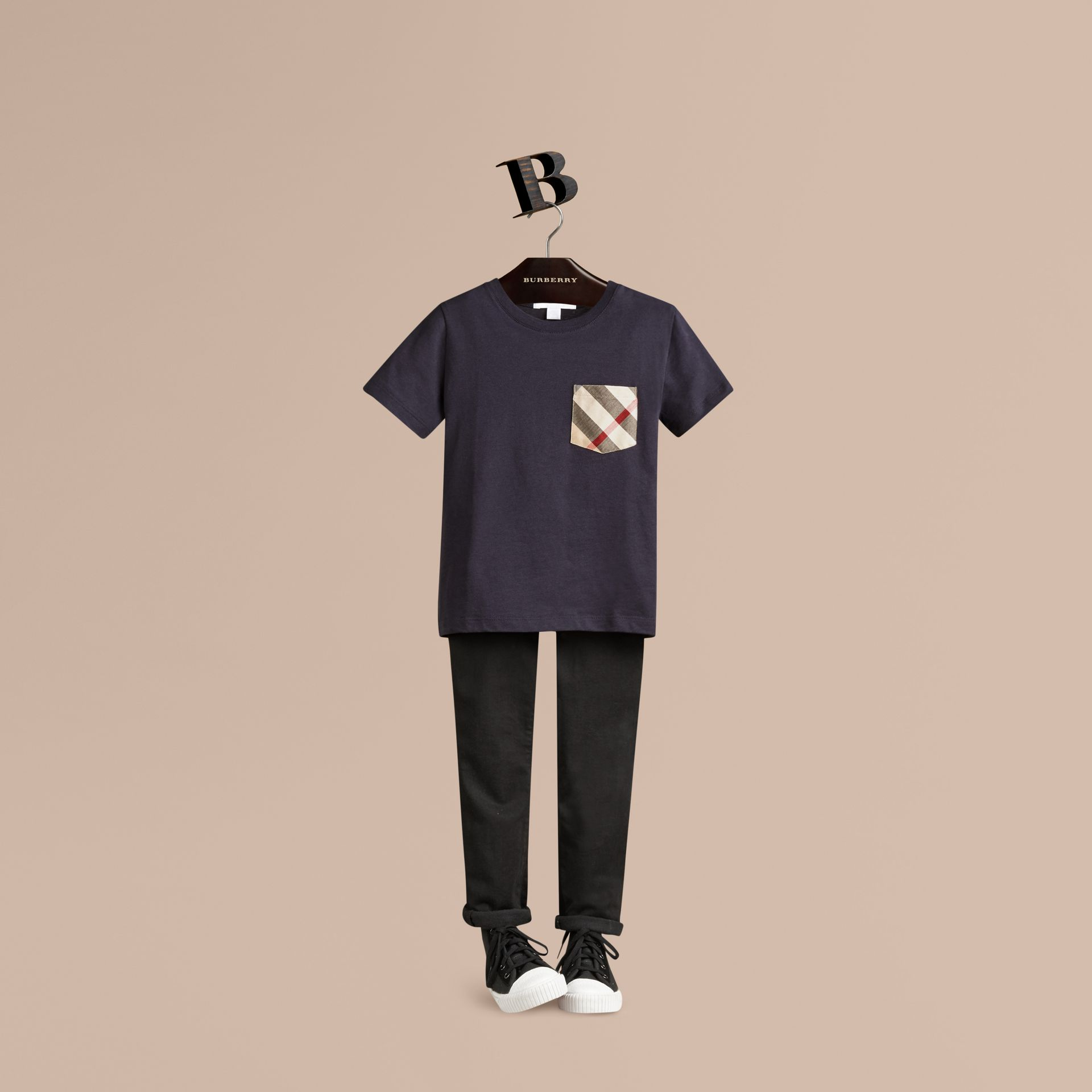 Check Pocket Cotton T-shirt in True Navy - gallery image 1