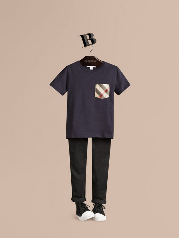 Check Pocket Cotton T-shirt in True Navy