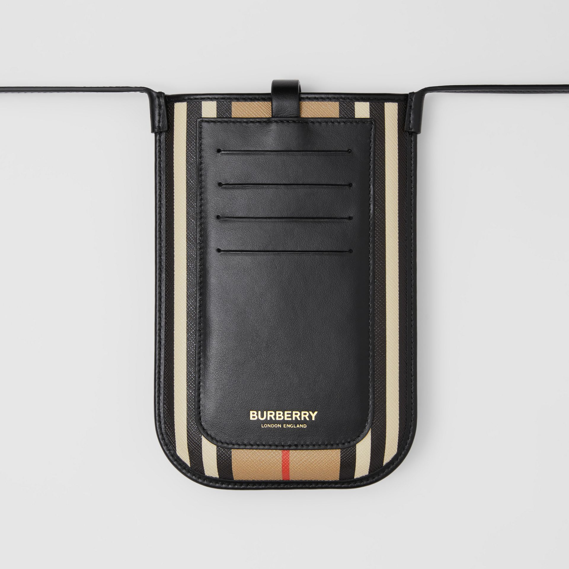 Icon Stripe E-canvas Phone Case with Strap in Archive Beige | Burberry - gallery image 7
