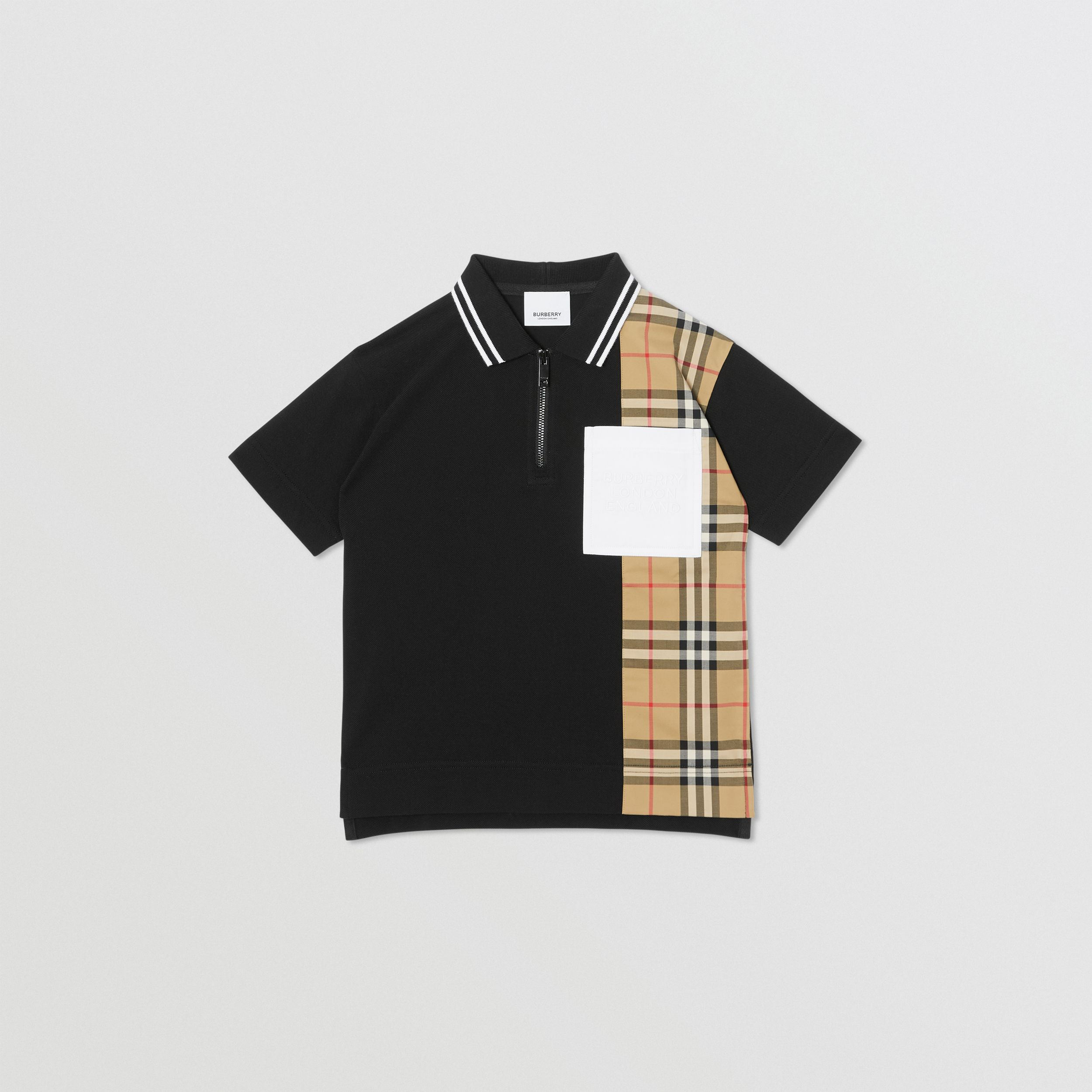 Vintage Check Panel Cotton Zip-front Polo Shirt in Black | Burberry - 1
