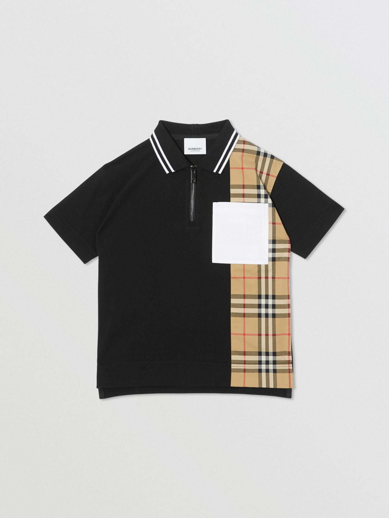 Vintage Check Panel Cotton Zip-front Polo Shirt in Black