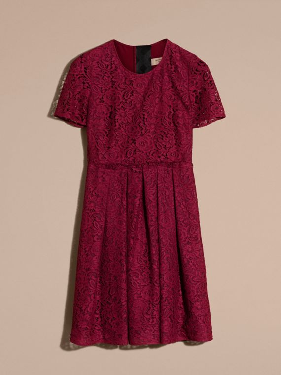 Dark crimson Italian Lace A-line Dress - cell image 3
