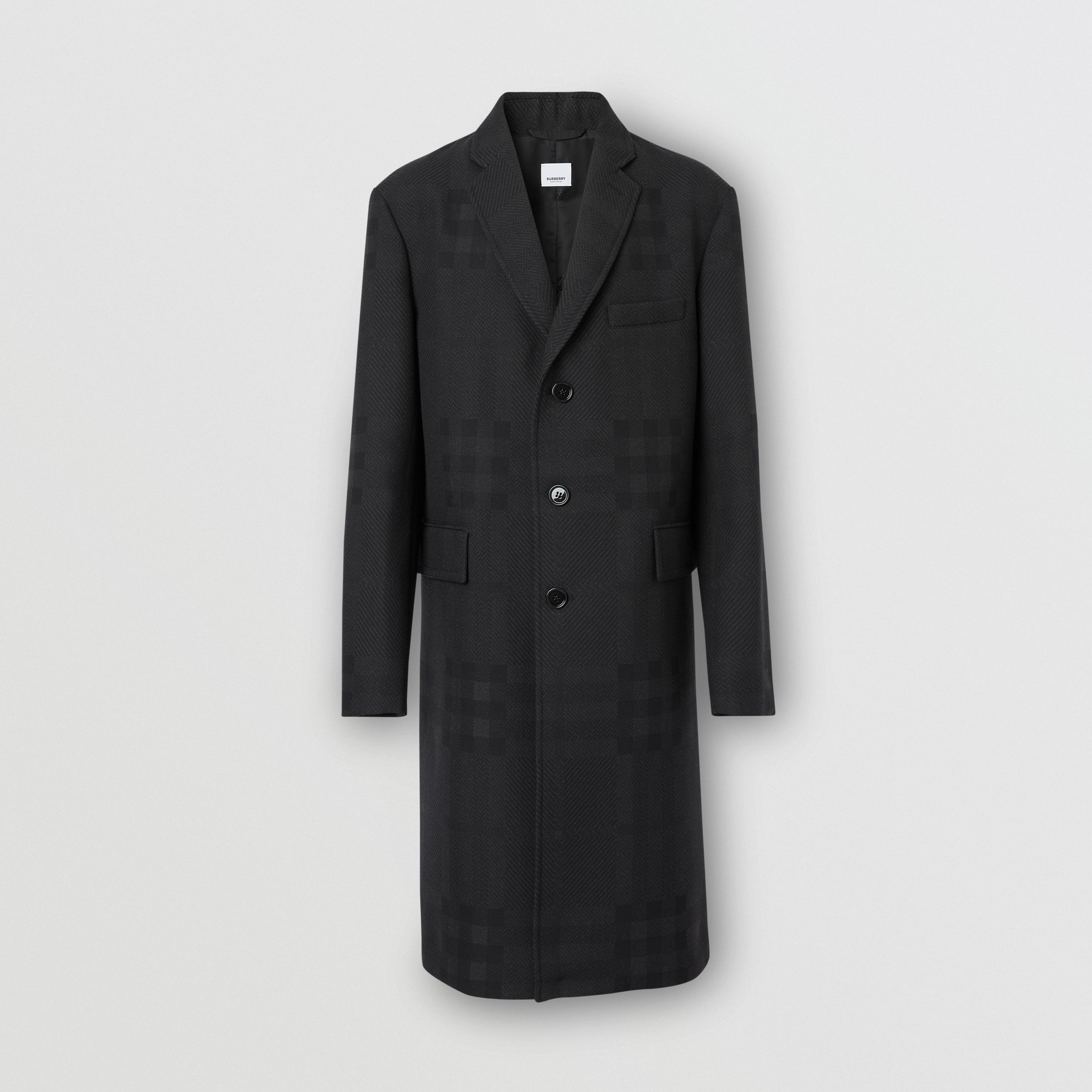 Check Wool Jacquard Tailored Coat in Charcoal Black - Men | Burberry - 4