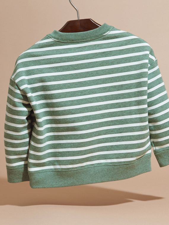 Striped Cotton Sweatshirt in Pale Opal Melange - Girl | Burberry - cell image 3