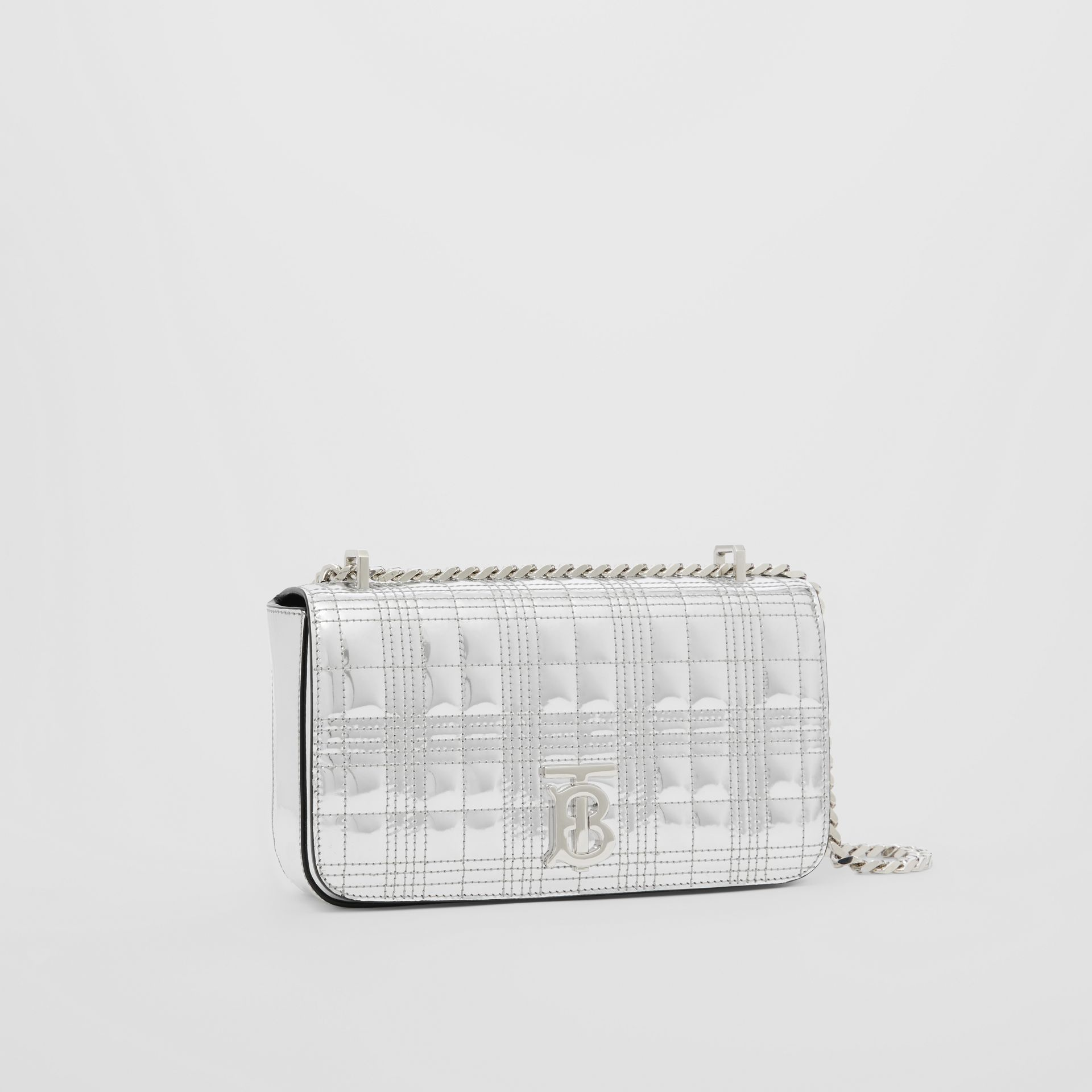 Small Quilted Metallic Leather Lola Bag in Silver - Women | Burberry United Kingdom - gallery image 4
