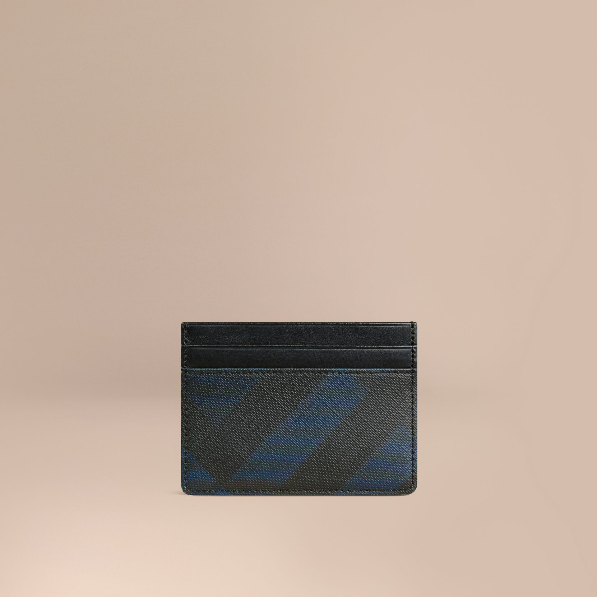 London Check Card Case Navy/black - gallery image 1