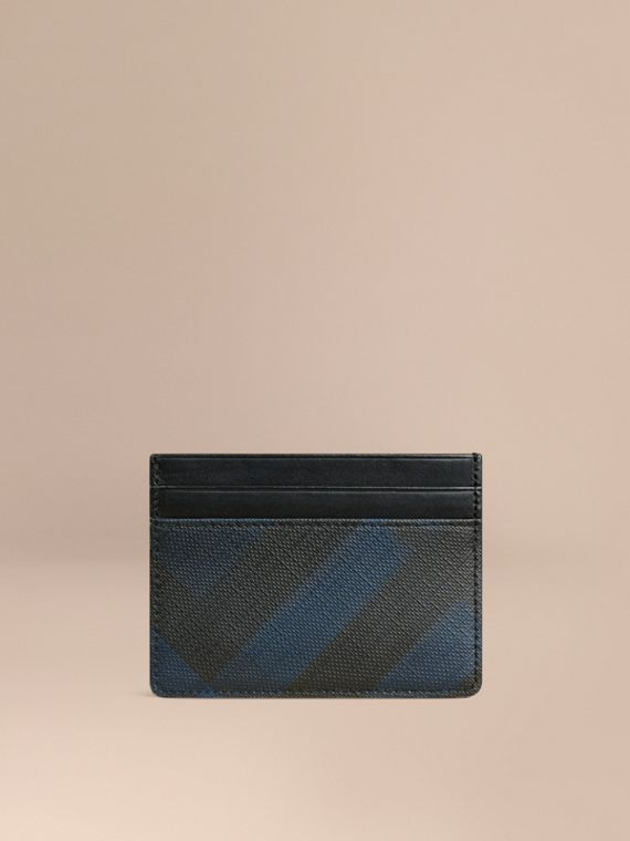 London Check Card Case in Navy/black - Men | Burberry