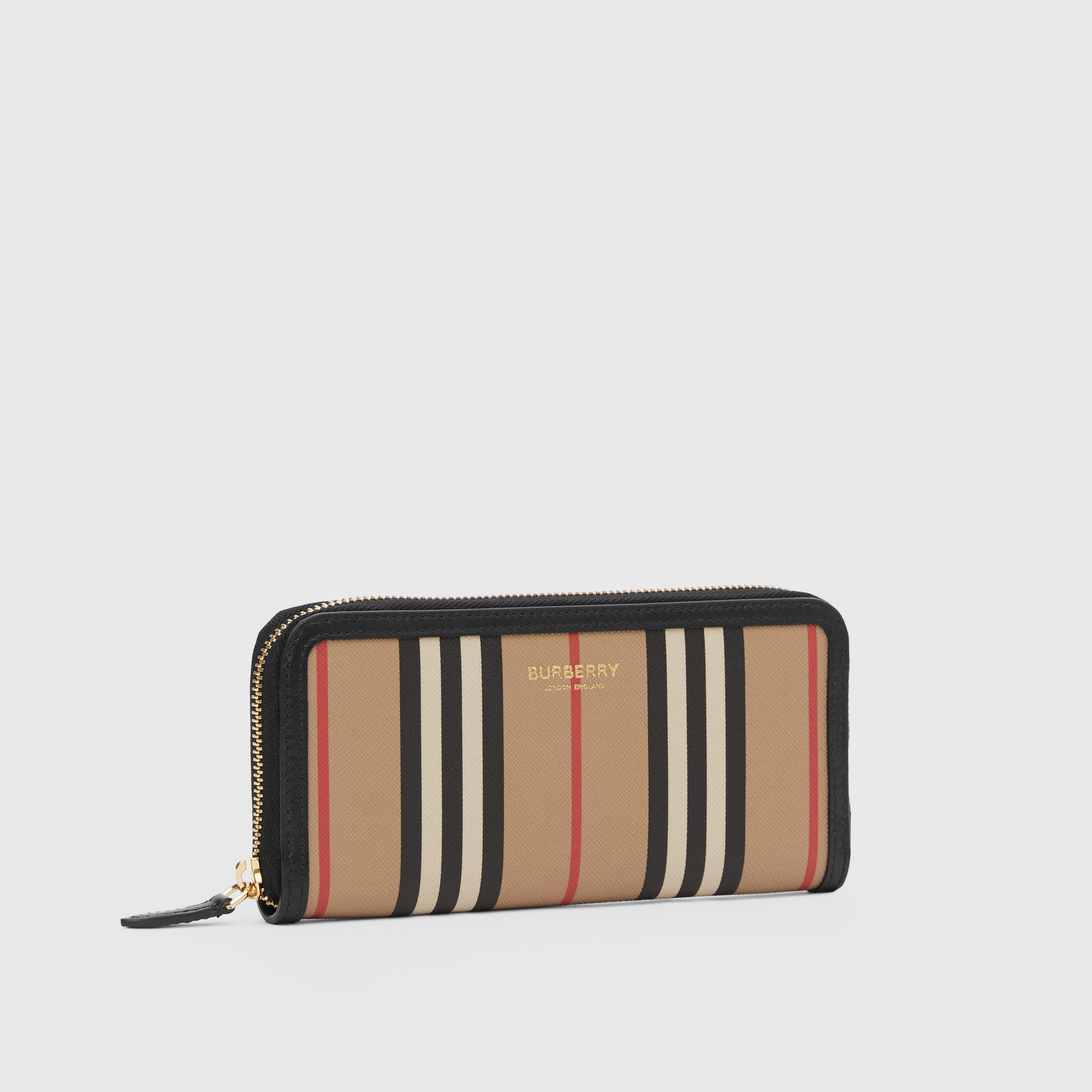 Icon Stripe E-canvas and Leather Ziparound Wallet in Archive Beige - Women | Burberry - 4