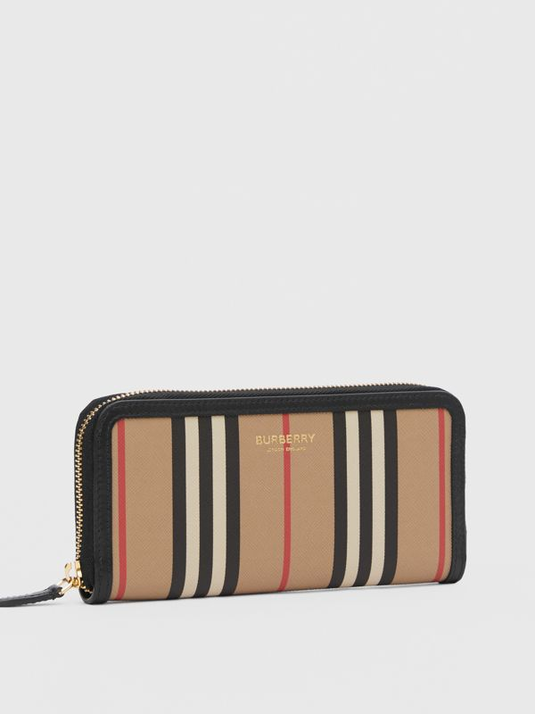 Icon Stripe E-canvas and Leather Ziparound Wallet in Archive Beige - Women | Burberry - cell image 3