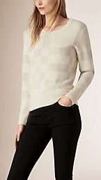 Check Knit Wool Blend Sweater