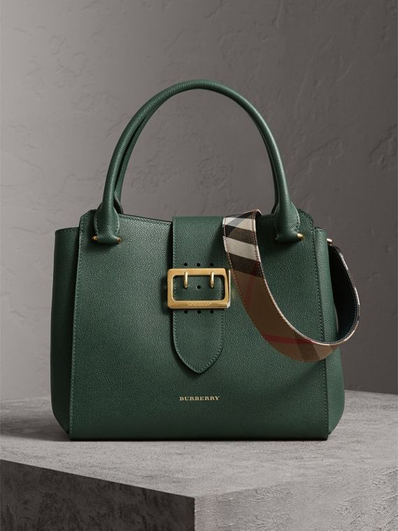 The Medium Buckle Tote in Grainy Leather in Sea Green