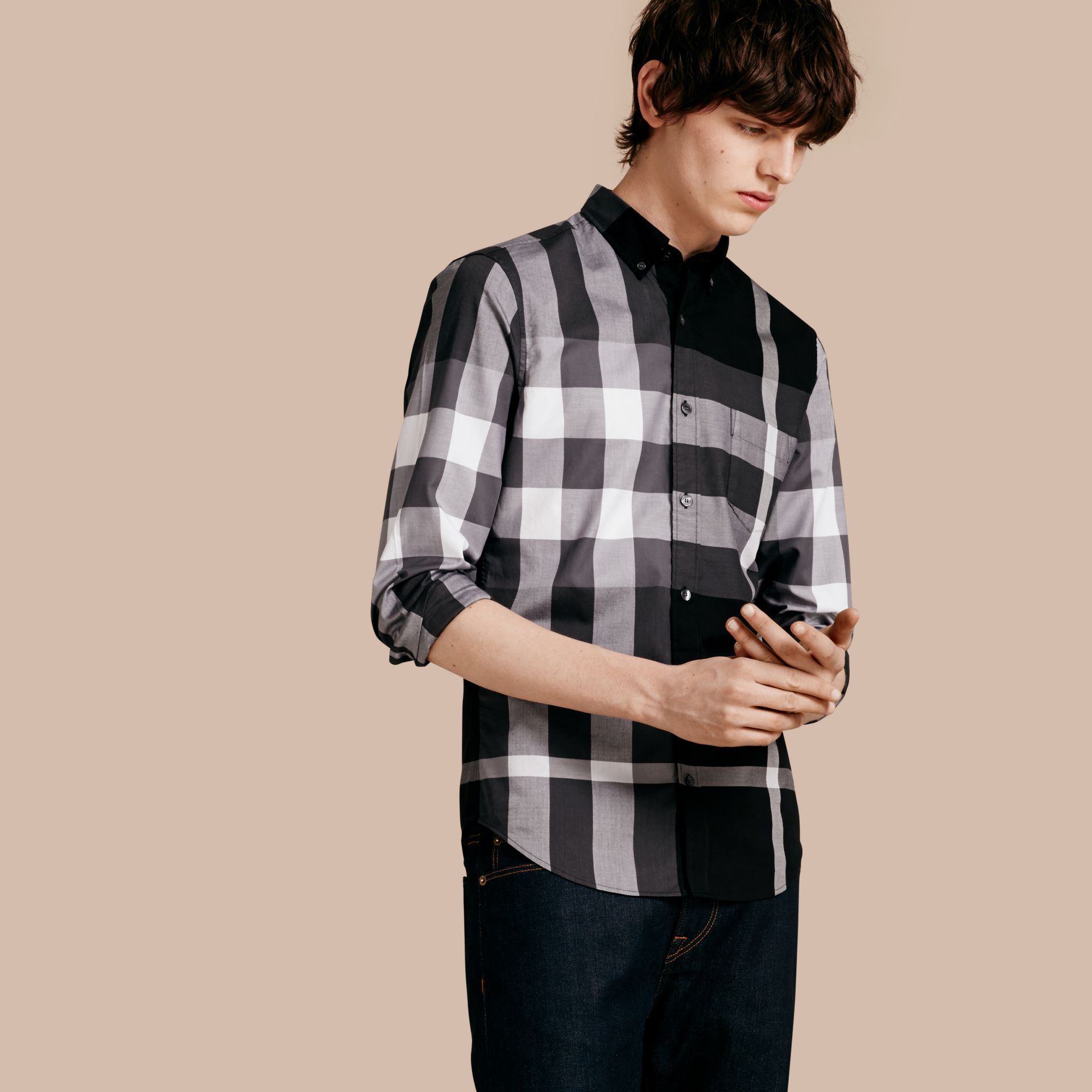 Nero Camicia in cotone con motivo check Nero - immagine della galleria 1